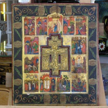 Икона «Божья Матерь» с врезанным крестом (Праздники)