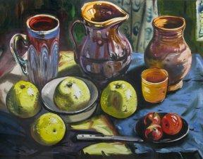 Натюрморт с кувшинами и яблоками