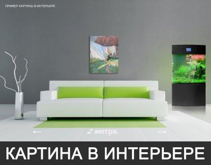 Пейзаж с белым петухом